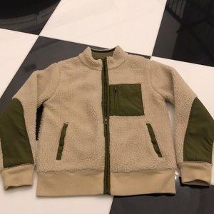 Jcrew cream and khaki green fleece boys 10 jacket